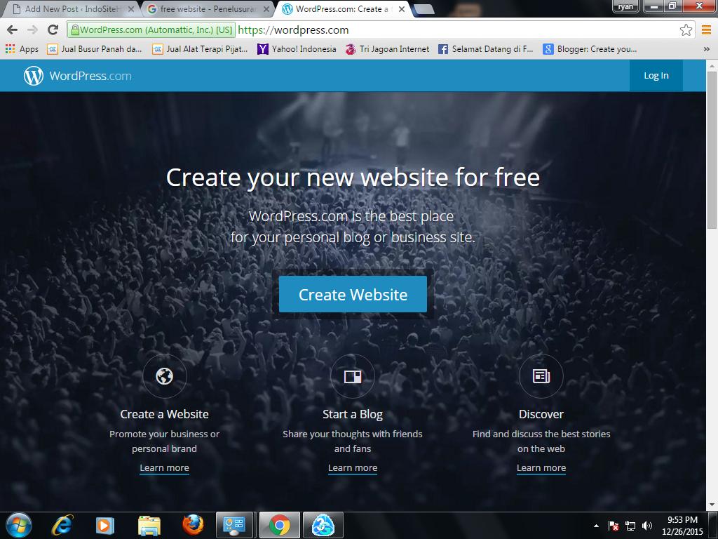 Membuat website gratis di wordpress